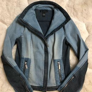NWOT....Colorblocked Denim Moto Jacket